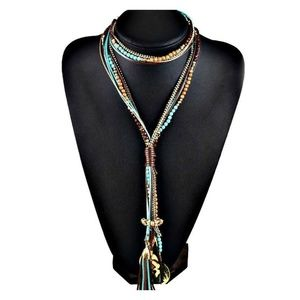 Boho Bead & Charm Multi-Strand Necklace NEW